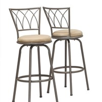 "Dark Coffee Metal 43""H Swivel Barstool (Set Of 2)"