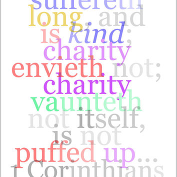 "Bible Wall Art 38, 1 Corinthians 13:4 ""Charity suffereth long and is kind..."""