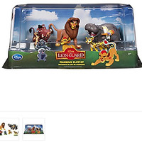 The Lion King - Lion Guard Birthday Cake Topper Figure Set Featuring Kion, Simba, Fuli, Timon with Pumbaa, Beshte with Ono Bunga and Other Decorative Themed Accessories - Includes All Items Shown