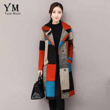 YuooMuoo Turn Down Collar Covered Button Women Long Wool Coat Casual Full Sleeve Patchwork Colors Plaid Winter Woolen Jacket