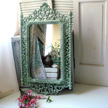 Mint Ornate Mirror, Vintage HOMCO Large Mirror, Shabby Chic Mirror, Light Green Distressed Mirror, Bathroom Mirror, Cottage Chic Mirror