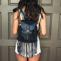 Fringe & Snakeskin Backpack - Black