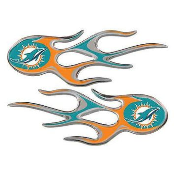 Miami Dolphins 2-pack Raised Air Puffed Flame Flames Auto Decal Emblem Football