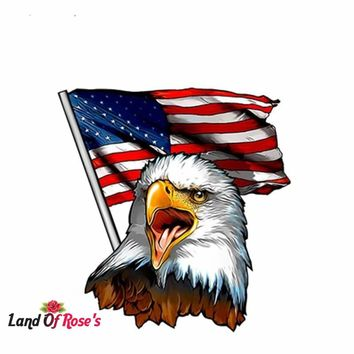 12cm x 11.5cm Eagle USA American Flag Decal for RV Trailer / Car stickers
