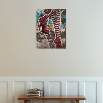 Gallery Wrap Canvas New York City Graffiti Red White Striped Socks Red Heels Shoes Home Decor Wizard Of Oz NYC Urban Art Photography