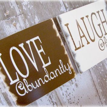 LOVE and LAUGH Duo Inspiration Signs Shabby Chic by cellardesigns