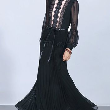 Queen Of The World Long Lantern Sleeve Lace Trim Crew Neck Pleated A Line Maxi Dress - 3 Colors Available