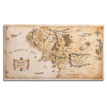 Lord Of The Rings 43''x24'' Map of Middle Earth Silk Cloth Poster