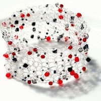Silver Colored Crocheted Wire Cuff Embellished with by beadedwire