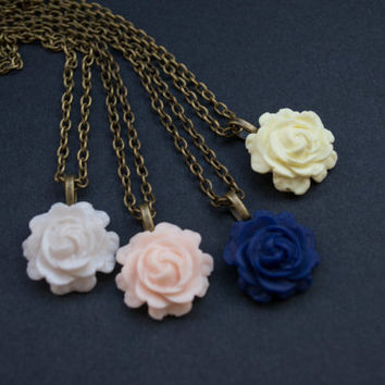 Rose Necklace. Polymer Clay Rose Pendant. Antique Brass. Wedding Jewelry. Bridesmaid Gift. Flower Jewelry