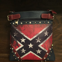 Distressed Vintage Rebel Flag Crossbody Purse
