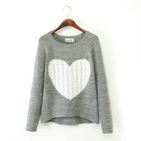 Knit Tops Winter Heart-shaped Pattern Twisted Casual Sweater [9307400004]