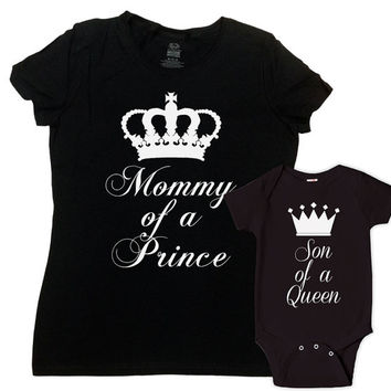 Mother And Son Matching Outfits Mommy And Me Clothing Mother Son Matching Shirts Mommy Of A Prince Son Of A Queen Bodysuit - SA625-626