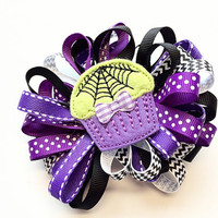 Halloween Hair Bow - Large Hair Bow for Girls - Loopy Ribbon Bow for Hair - Halloween Bow - Cupcake Hair Bow Barrette for Girls
