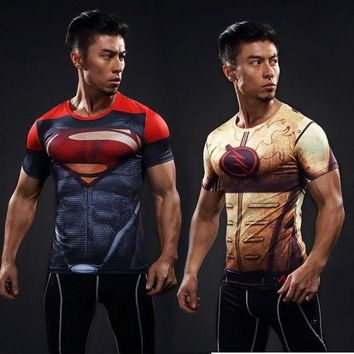 DKLW8 high quality Men's Marvel Armour T-shirt Superhero Compression T Shirt male Fitness Tights Under Tops & Tees