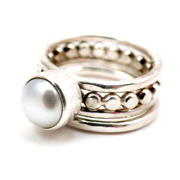 White Pearl Stacking Rings Sterling Silver Modern Classic June Birthstone Engagement Wedding Jewelry - Girl with a Pearl Ring Set