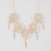 Full Tilt Dream Catcher Statement Necklace Antique Gold One Size For Women 25910162301