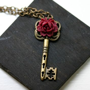 Red Rose Antique Brass Skeleton Key Necklace