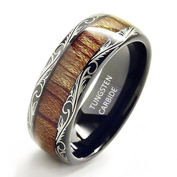 8mm Comfort Fit Black Tungsten carbide Ring Koa Wood Inlay Dome Wedding Band Ring men's jewelry