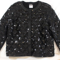 "~~~ GLAM-SLAM! ~~~ CHANEL BLACK SEQUIN ""MATRASSE"" QUILTED BOMBER JACKET ~~~ FR46"