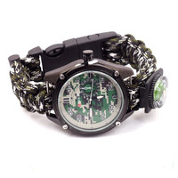 Outdoor Camping Watch With Survival Flint Fire Starter Paracord Compass