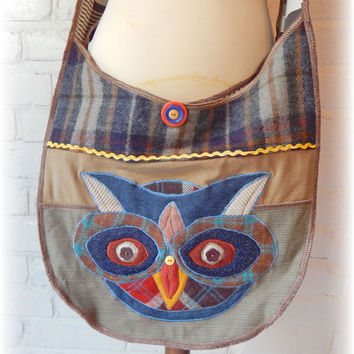 Owl Recycled Bag Crossbody Messenger College Upcycled Hobo Folk Rustic Woodland Beige Chic Quirky Wildlife Bird Repurposed Eco Friendly OOAK