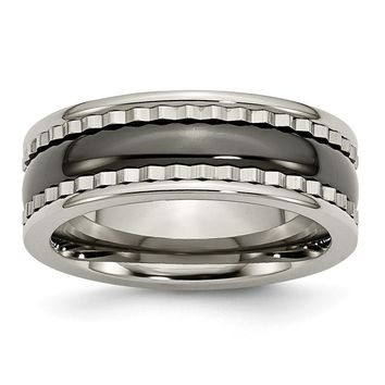 Men's Titanium with Sawtooth Accent Black Ceramic Center Wedding Band Ring