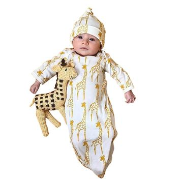 Baby Girls Boys Giraffe Pajamas Gown+Hat Cotton Blend