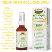 VEGAN VITAMIN D3 Concentrated Oral Liquid Spray (Unflavored) (Plant Based, Vegan, Paleo) For Infants, Babies & Adults 1-2 Month Supply