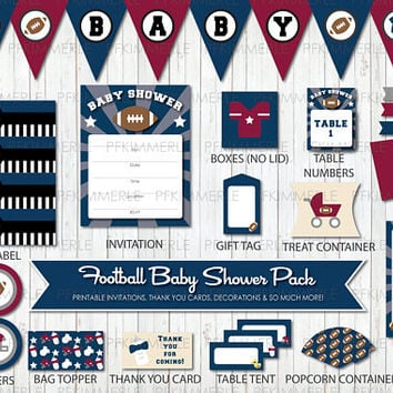 Football Themed Baby Shower, All Star, Sports, Printable Party Pack, Baby Shower Decorations, DIY Party, Blue, Navy, Gray