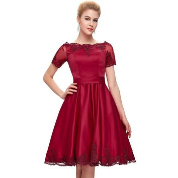 Elegant Satin Short Sleeve Evening Dresses Lace burgundy Evening Gowns Red women Formal dresses