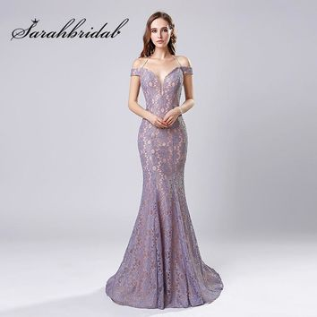 Lace Long Evening Dresses 2018 New Arrival Sexy Mermaid Off Shoulder Backless In Stock Sweep Train Prom Party Gowns CC575