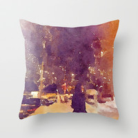 Snowy Night Throw Pillow by Elyse Notarianni