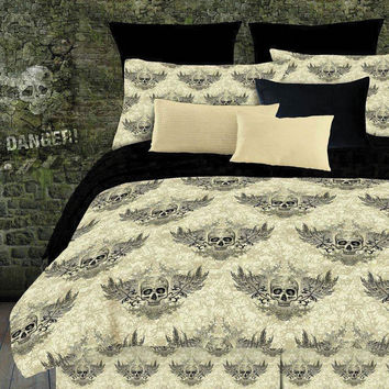 Veratex Home Indoor Bedroom Winged Skull Comforter Set Queen Khaki/Black