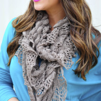 Warm Hearted Knit Scarf: Charcoal | Hope's