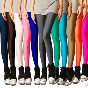 CN-RUBR Brand Sexy Solid Candy Neon Plus Size Women's Leggings