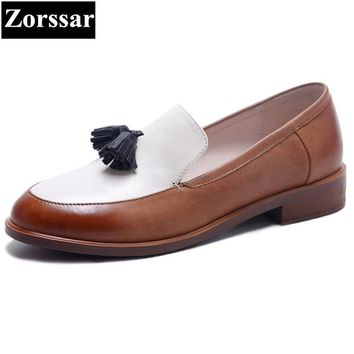 Genuine leather Flat Oxford Shoes Woman flats 2017 fashion Tassel British style Oxford shoes women Flat Heel Leather shoes