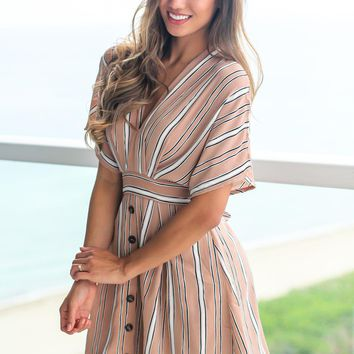 Latte Short Dress with Open Back and Button Details