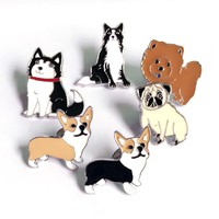 Dachshunds corgi dogs brooches pins pendant badge decorated pins jewelry cartoon cute brooches for men and women Fashion gifts
