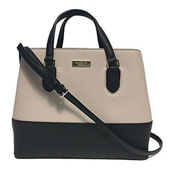 Kate Spade New York Laurel Way Evangelie Saffiano Leather Shoulder Bag Handbag, Almondine, Black