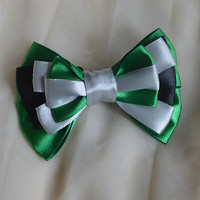 Hair bow - slytherin - green silver and black - lolita harajuku romantic fashion kawaii costume prop - harry potter girl cosplay