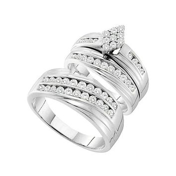 14kt White Gold His & Hers Round Diamond Cluster Matching Bridal Wedding Ring Band Set 1-1/5 Cttw - FREE Shipping (US/CAN)