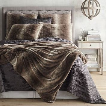 Faux Fur Ombre Gray Blanket & Sham