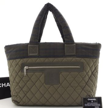Authentic CHANEL Moss green Nylon Coco-Cocoon Tote MM Check pattern Tote Bag