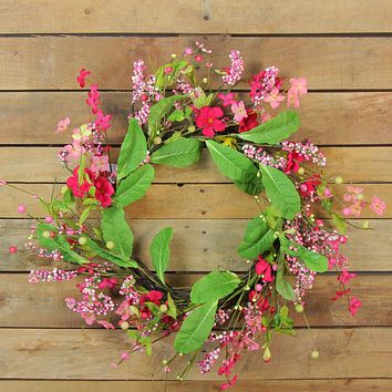 Geranium and Coralroot Twig Spring Floral Wreath  Pink 24-Inch