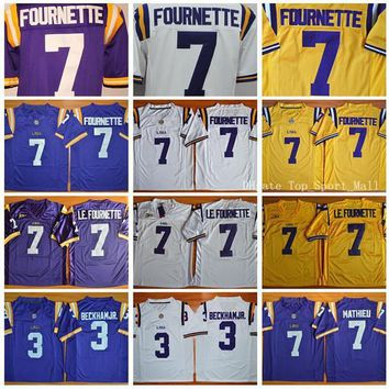 Football LSU Tigers College Jerseys 3 Odell Beckham Jr. 7 Leonard Fournette 7 LE.FOURNETTE 7 Patrick Peterson 7 Tryann Mathieu Purple Yellow