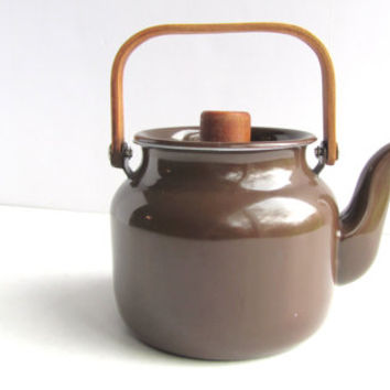 Mid Century Modern Brown Enamelware Tiny Teapot Bentwood Handle