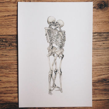 Love, kissing couple, skeleton, anatomy, print, watercolor painting, human skeleton, anatomy art, kiss, drawing, picture