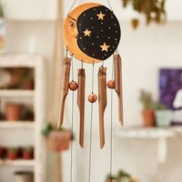Wooden Sun and Moon Bamboo Chime
