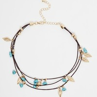 ASOS Multi Row Leaf Cord Choker Necklace